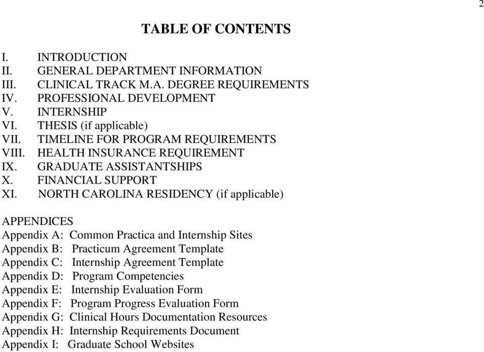 NORTH CAROLINA RESIDENCY (if applicable) APPENDICES Appendix A: Common Practica and Internship Sites Appendix B: Practicum Agreement Template Appendix C: Internship Agreement Template