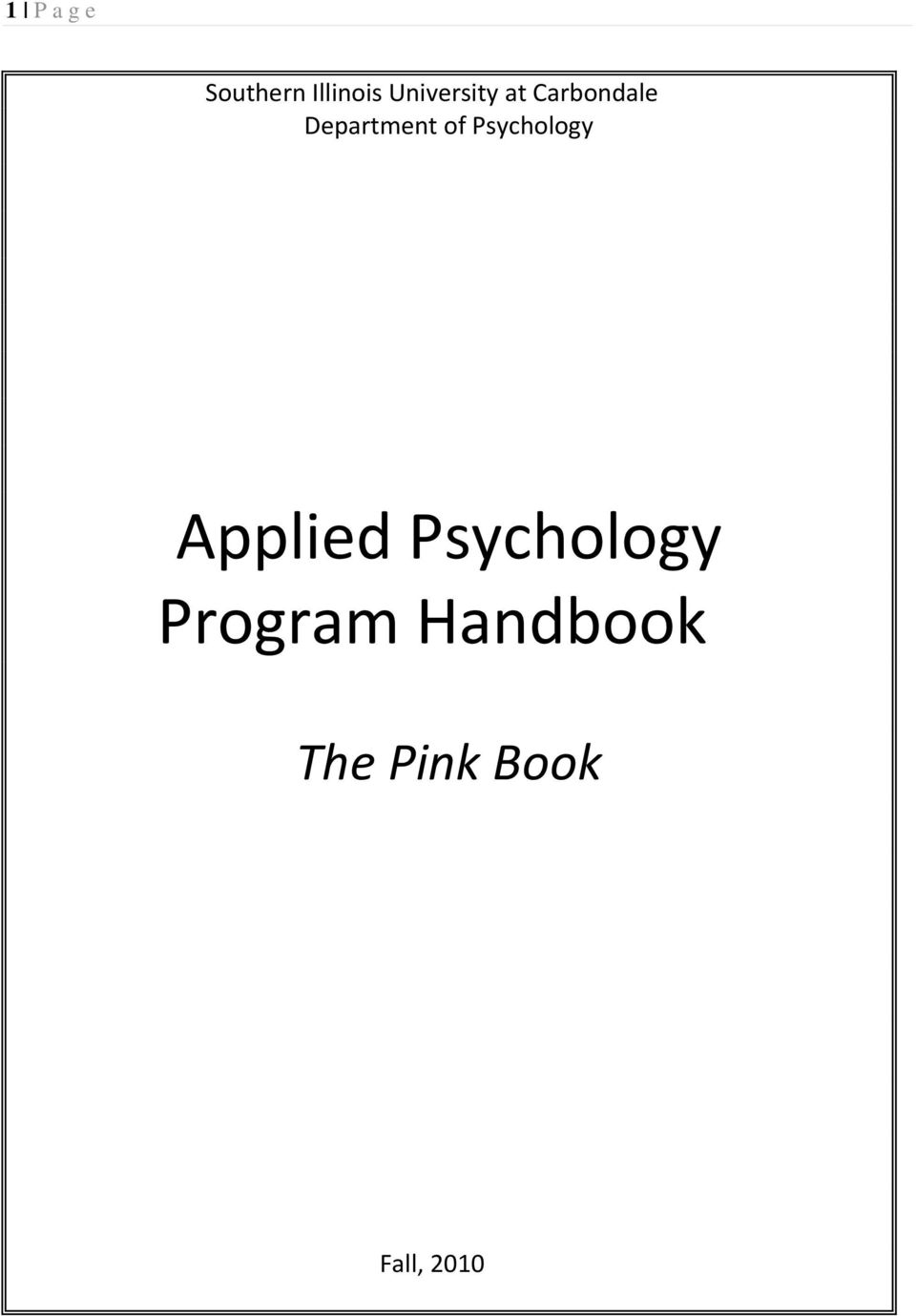 Department of Psychology Applied