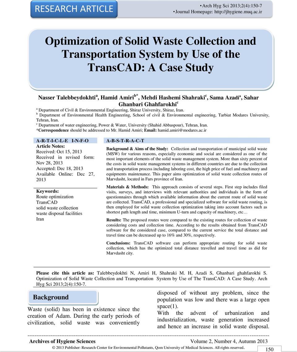 Optimization of Solid Waste Collection and Transportation System by