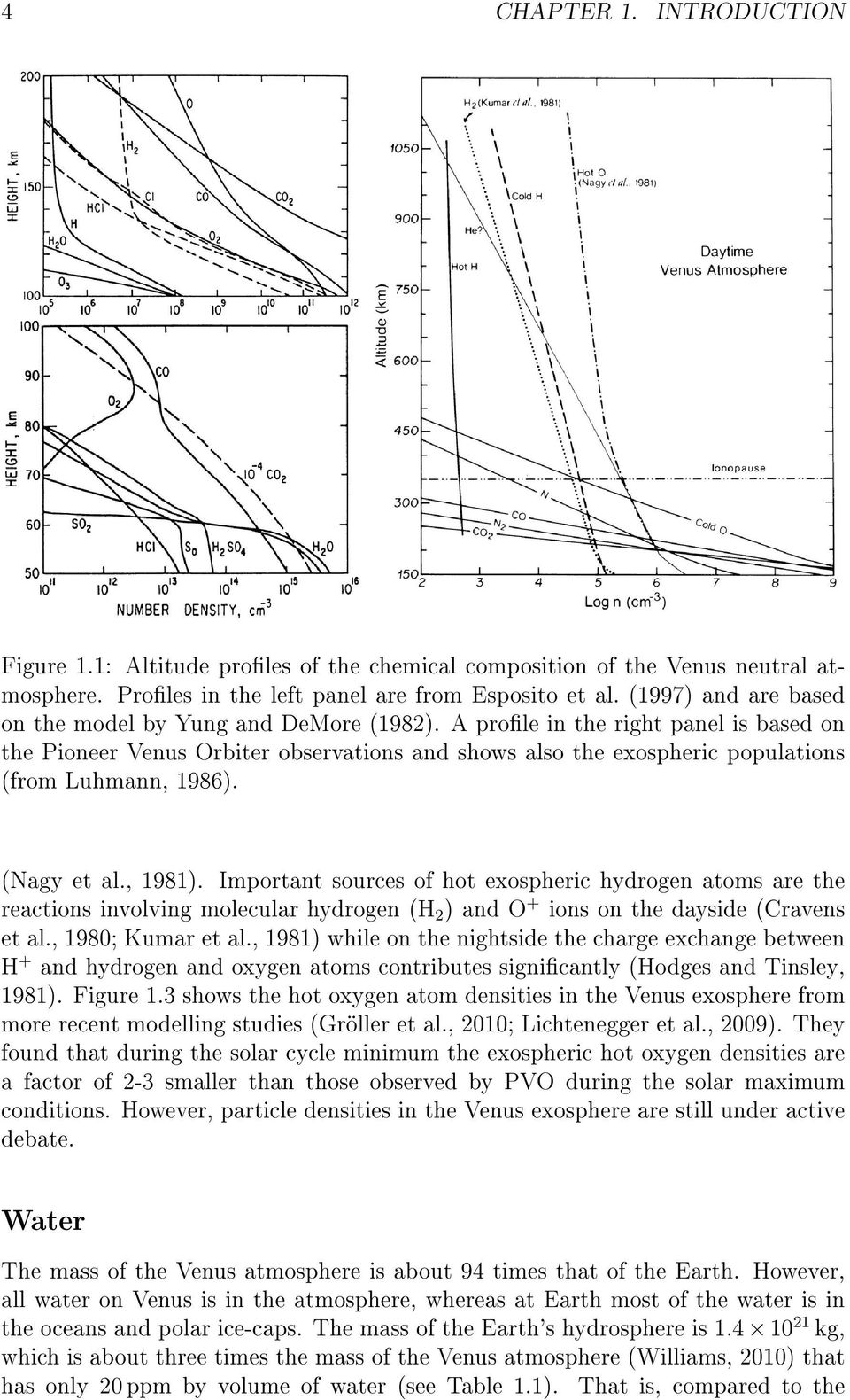 A prole in the right panel is based on the Pioneer Venus Orbiter observations and shows also the exospheric populations (from Luhmann, 1986). (Nagy et al., 1981).