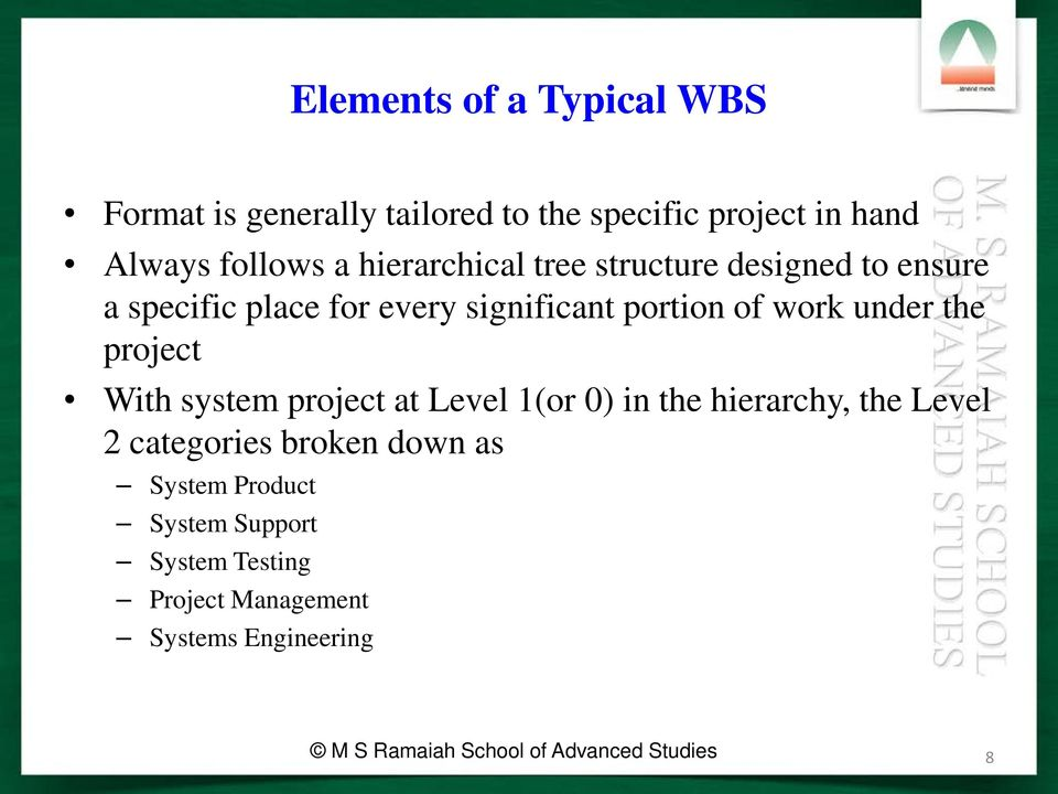 the project With system project at Level 1(or 0) in the hierarchy, the Level 2 categories broken down as