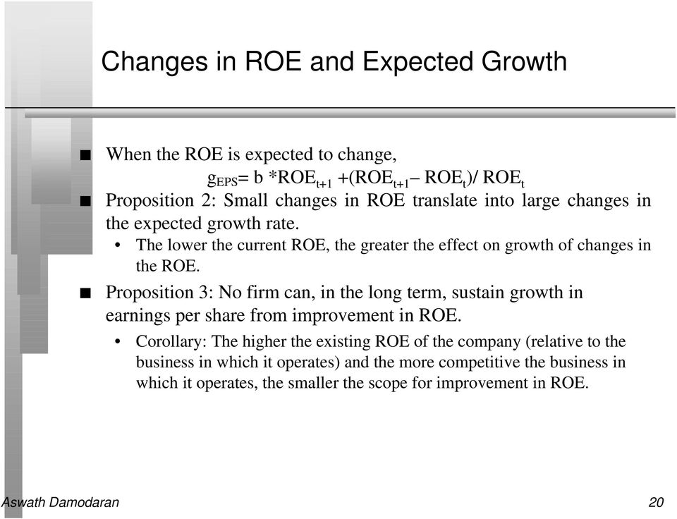 Proposition 3: No firm can, in the long term, sustain growth in earnings per share from improvement in ROE.