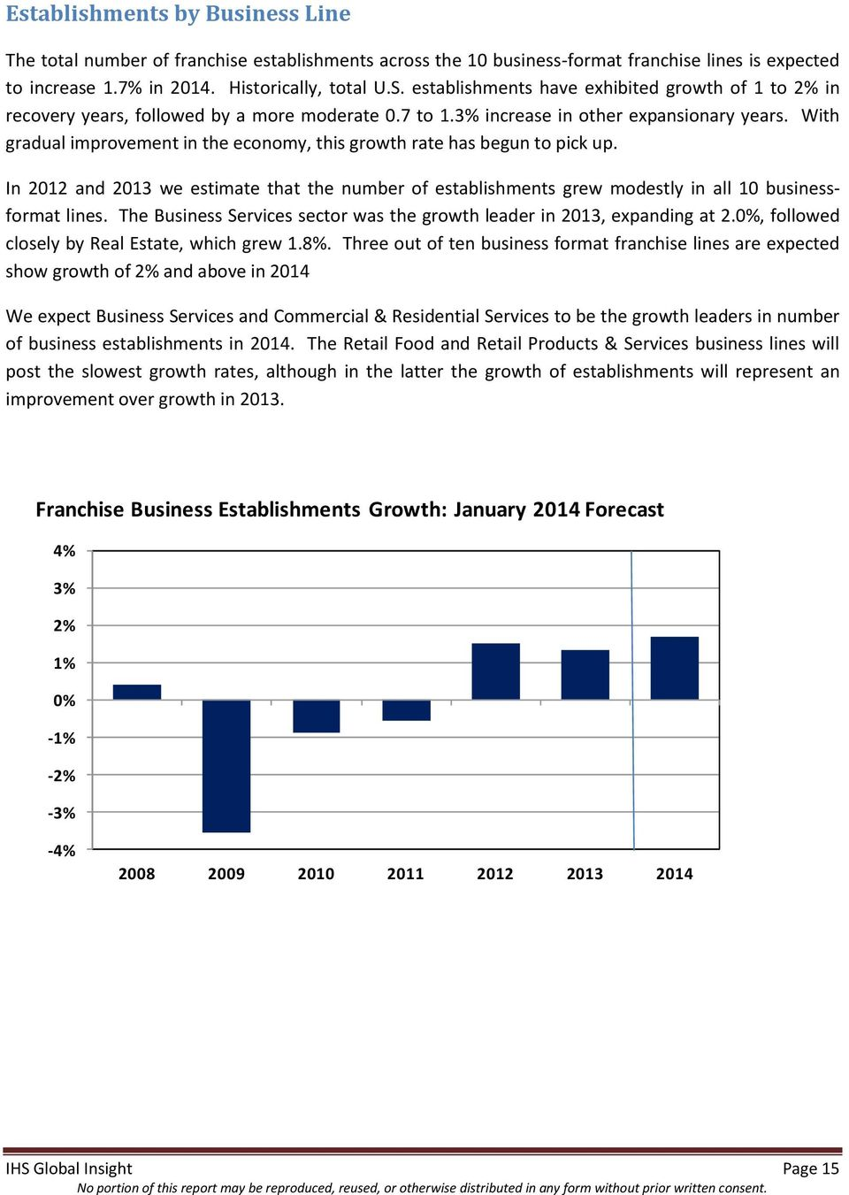 With gradual improvement in the economy, this growth rate has begun to pick up. In 2012 and 2013 we estimate that the number of establishments grew modestly in all 10 businessformat lines.