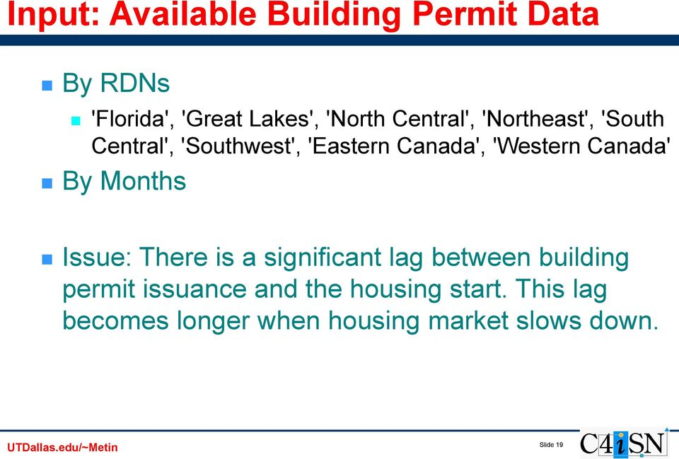 Canada' By Months Issue: There is a significant lag between building permit