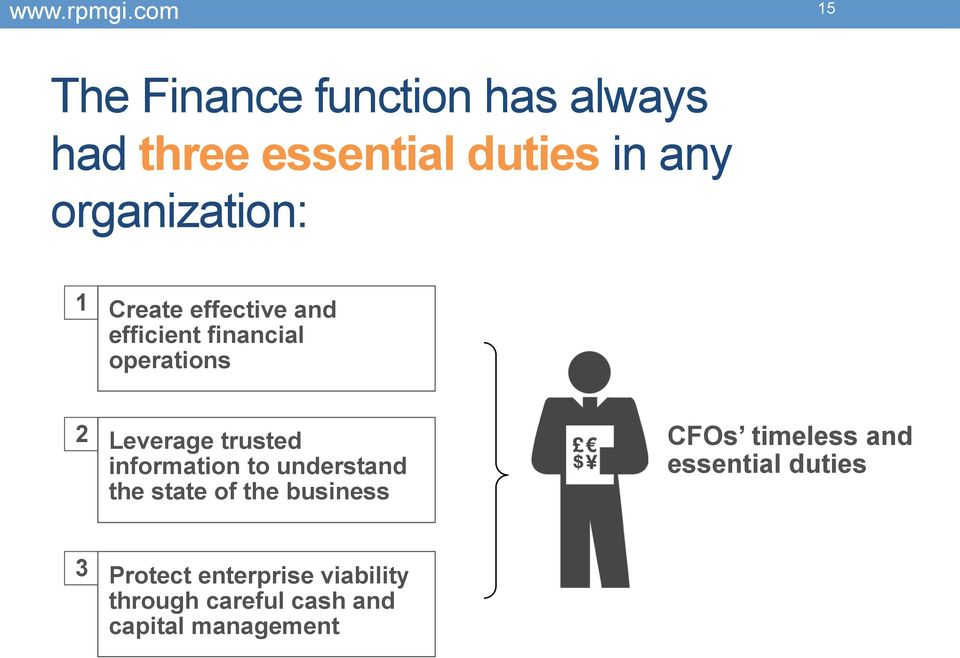trusted information to understand the state of the business CFOs timeless and