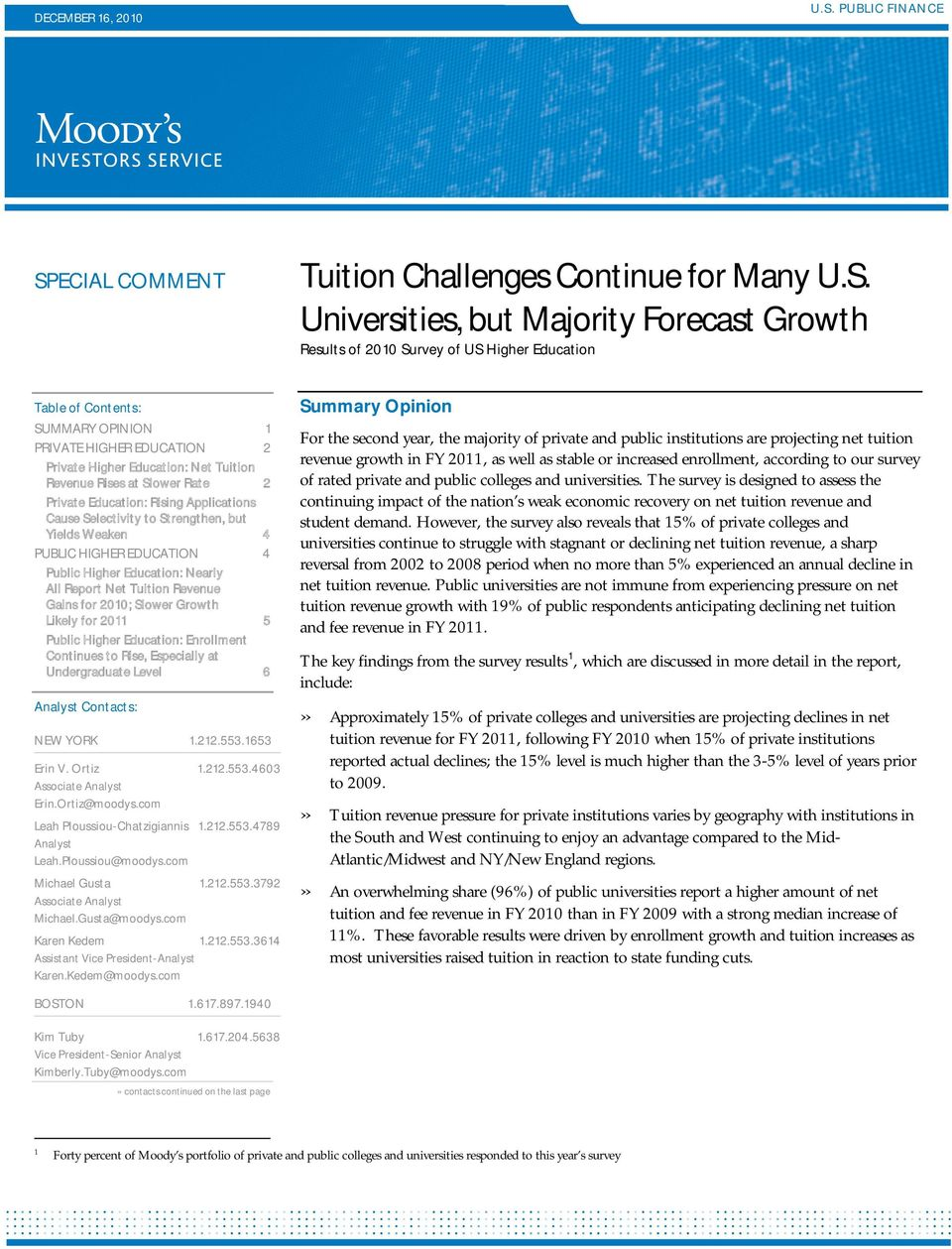 ECIAL COMMENT Tuition Challenges Continue for Many U.S.