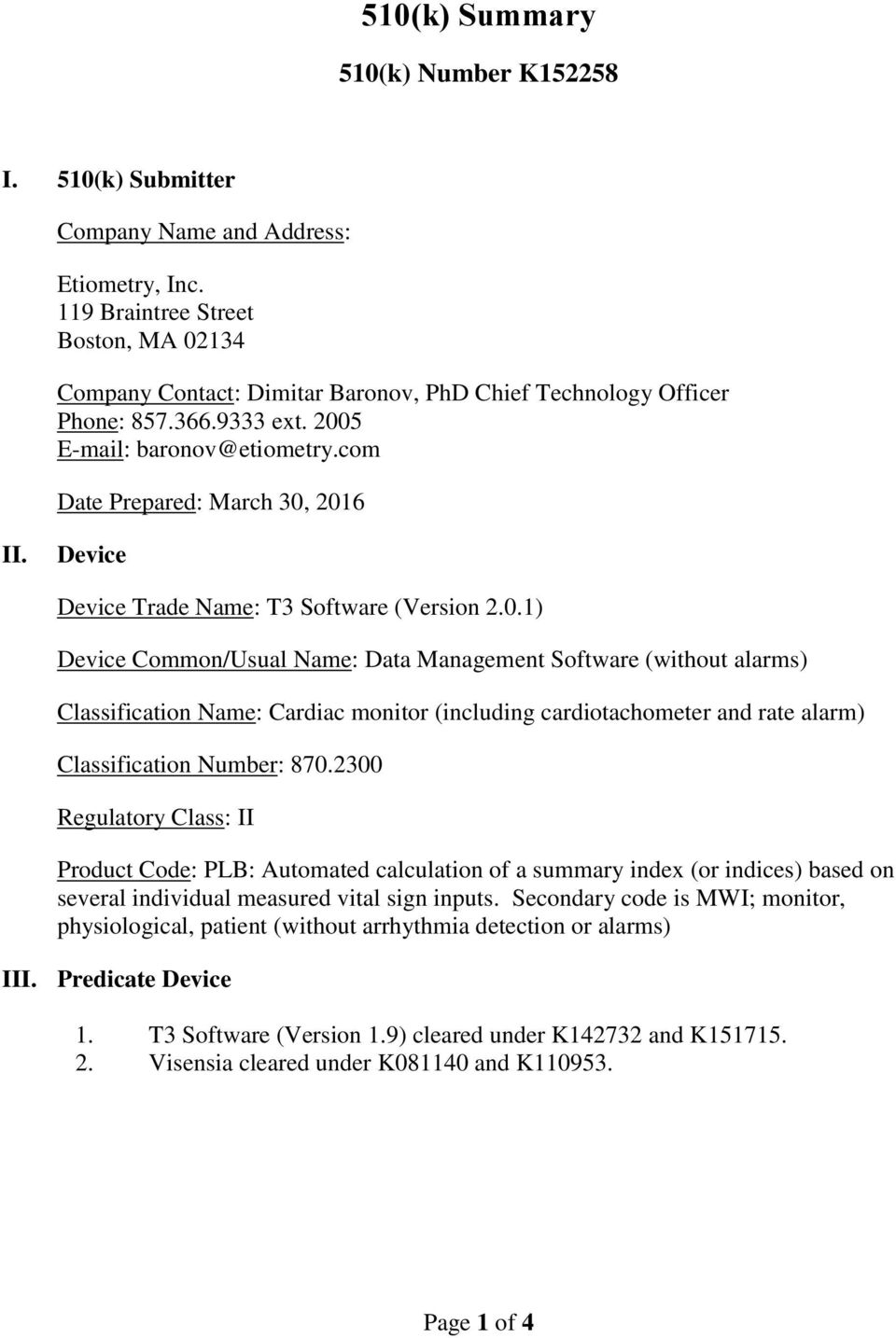 Device Device Trade Name: T3 Software (Version 2.0.