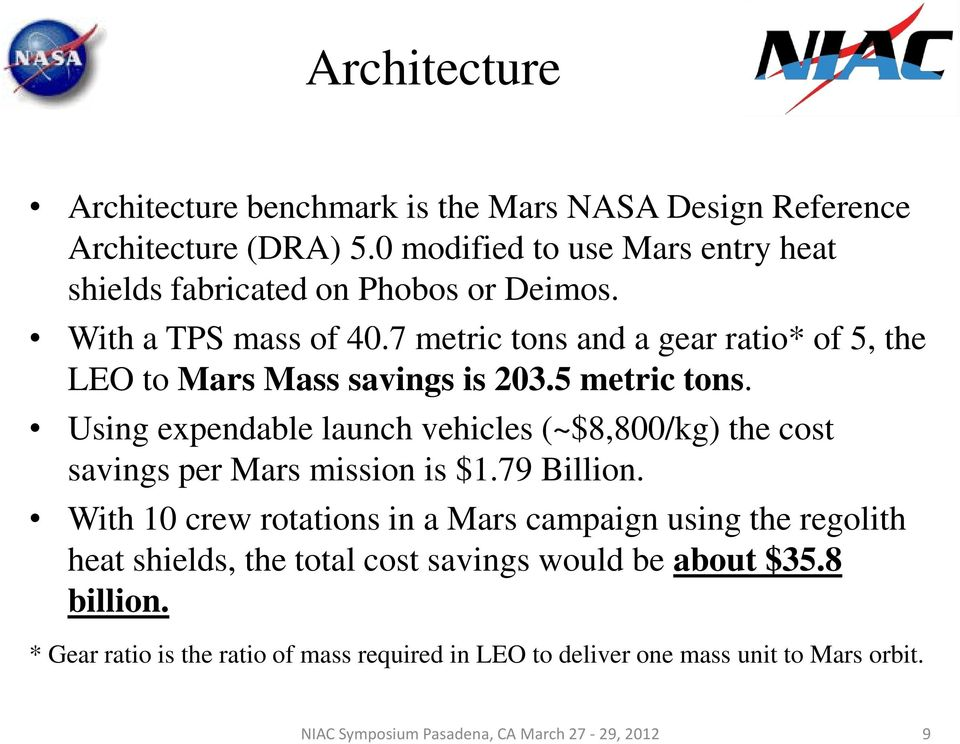 7 metric tons and a gear ratio* of 5, the LEO to Mars Mass savings is 203.5 metric tons.