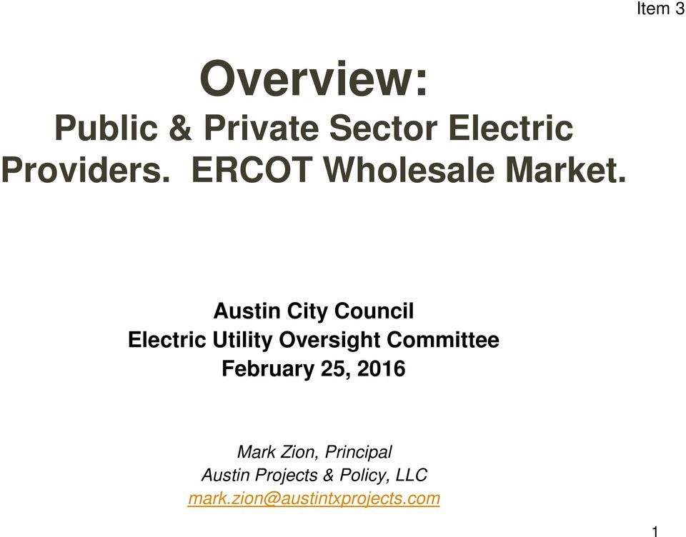 Austin City Council Electric Utility Oversight Committee