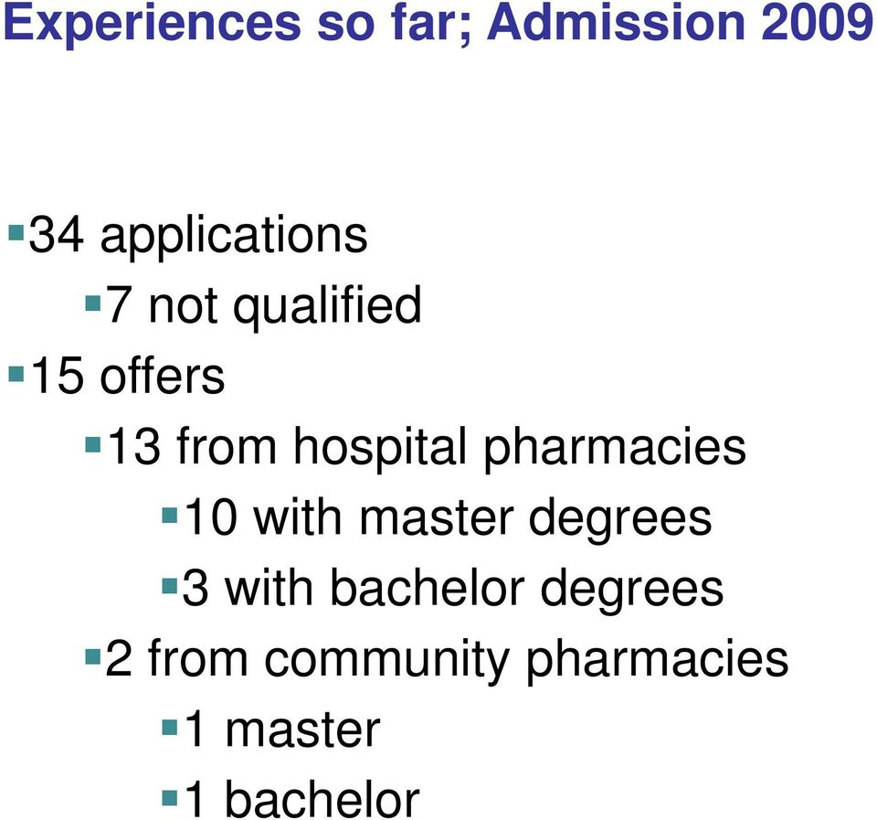 hospital pharmacies 10 with master degrees 3 with