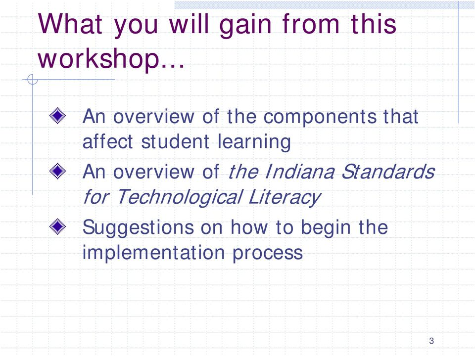 learning An overview of the Indiana Standards for