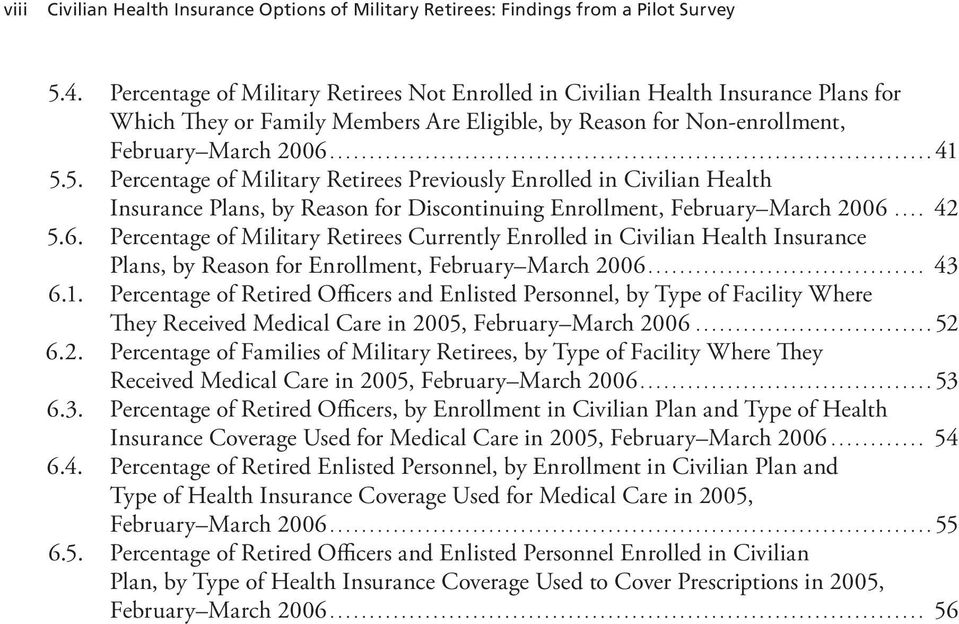 5. Percentage of Military Retirees Previously Enrolled in Civilian Health Insurance Plans, by Reason for Discontinuing Enrollment, February March 2006.