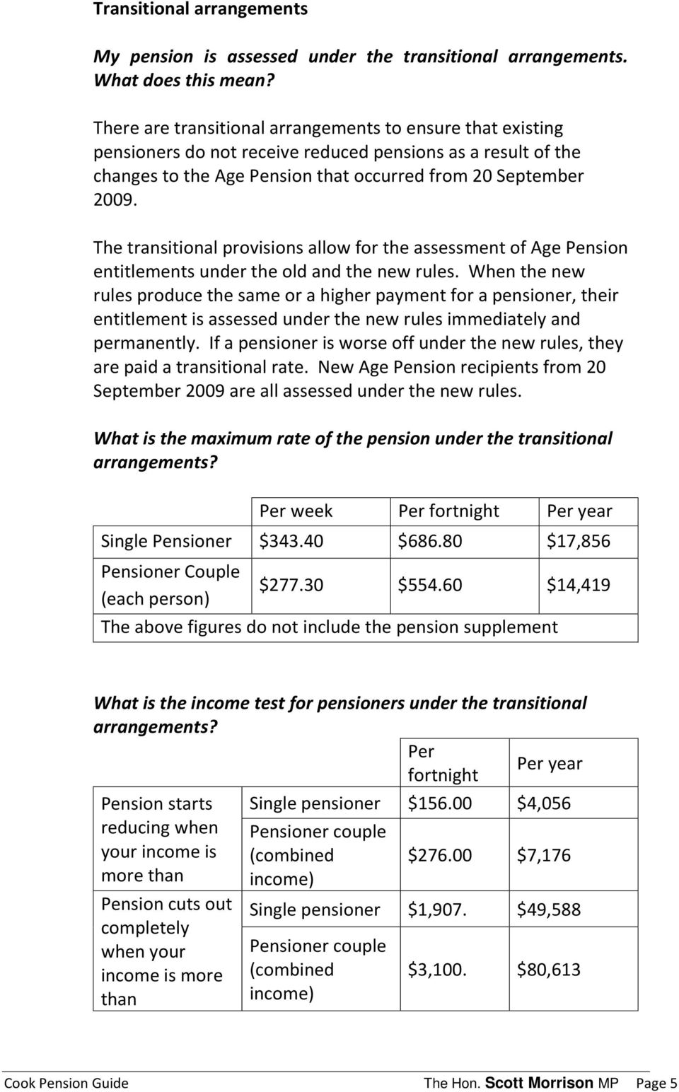 The transitional provisions allow for the assessment of Age Pension entitlements under the old and the new rules.