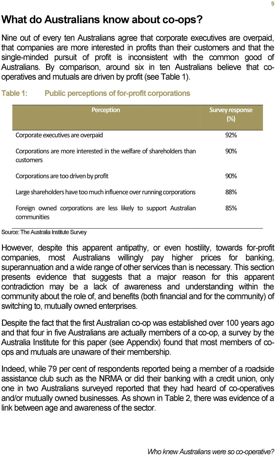 inconsistent with the common good of Australians. By comparison, around six in ten Australians believe that cooperatives and mutuals are driven by profit (see Table 1).