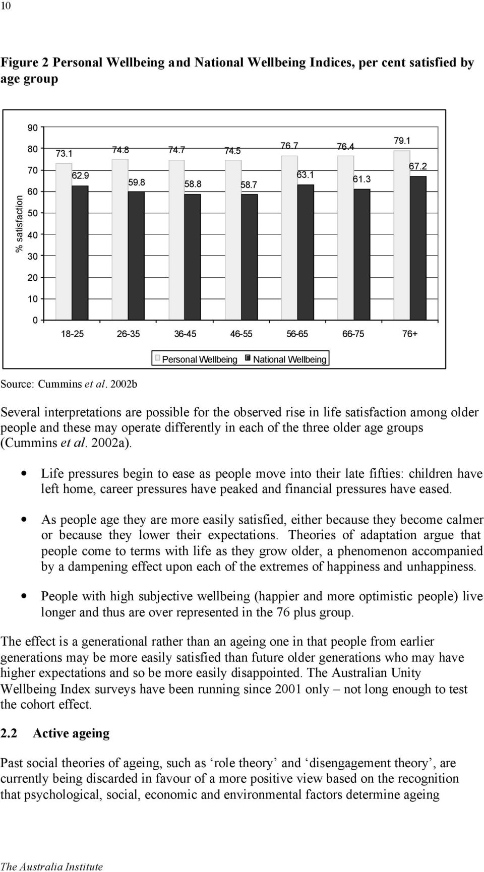 2002b Several interpretations are possible for the observed rise in life satisfaction among older people and these may operate differently in each of the three older age groups (Cummins et al. 2002a).