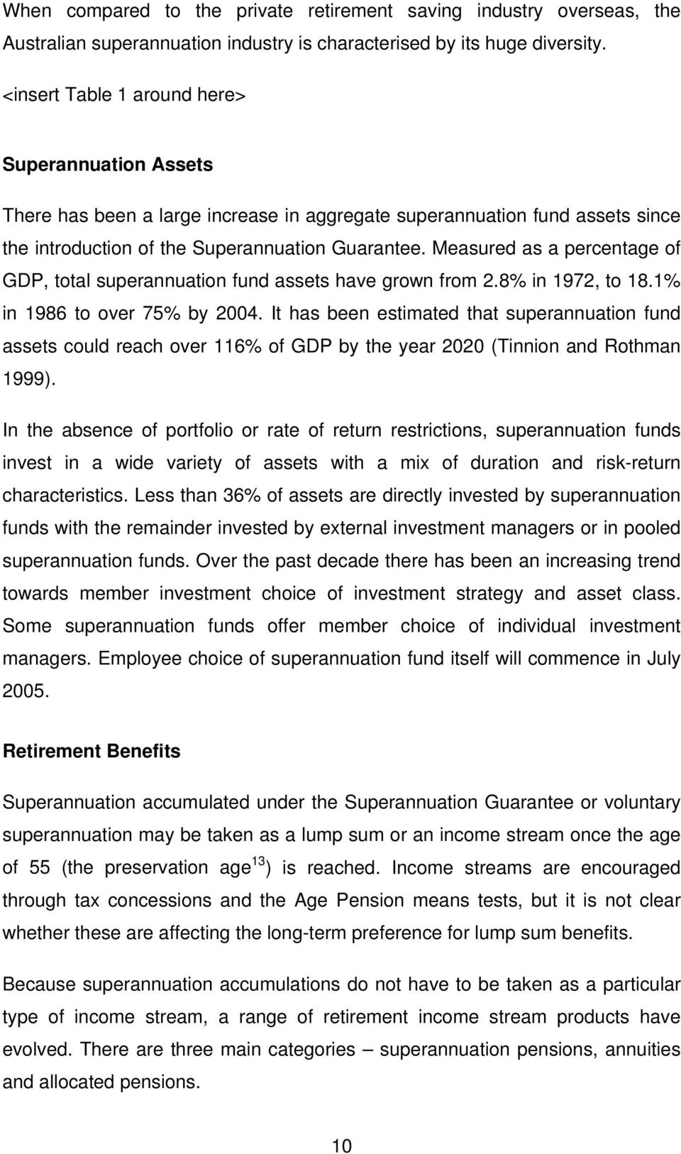 Measured as a percentage of GDP, total superannuation fund assets have grown from 2.8% in 1972, to 18.1% in 1986 to over 75% by 2004.