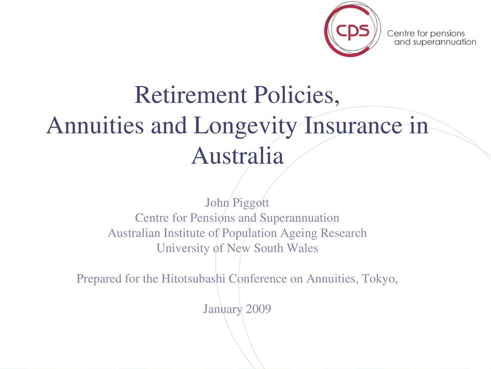 Institute of Population Ageing Research University of New South