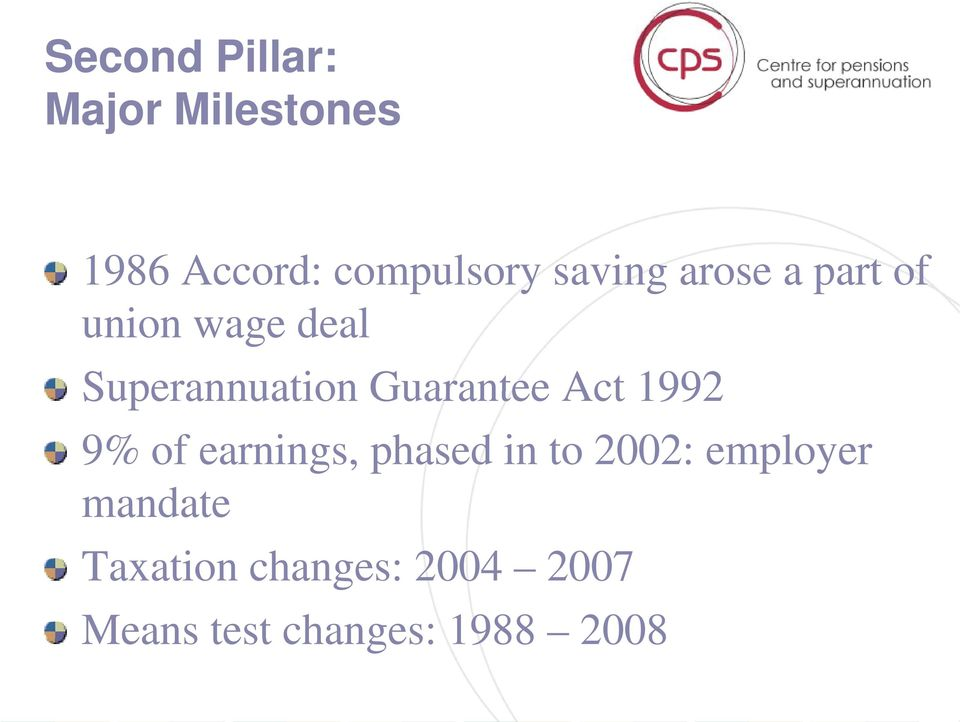 Guarantee Act 1992 9% of earnings, phased in to 2002:
