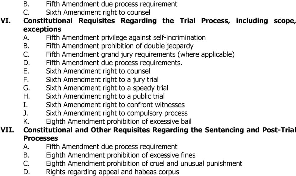 Fifth Amendment due process requirements. E. Sixth Amendment right to counsel F. Sixth Amendment right to a jury trial G. Sixth Amendment right to a speedy trial H.