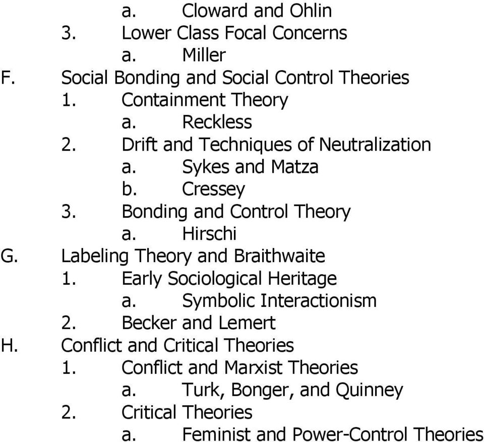 Labeling Theory and Braithwaite 1. Early Sociological Heritage a. Symbolic Interactionism 2. Becker and Lemert H.