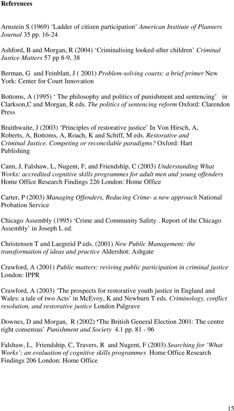 Center for Court Innovation Bottoms, A (1995) The philosophy and politics of punishment and sentencing in Clarkson,C and Morgan, R eds.