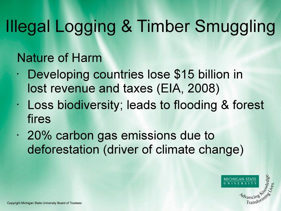 2008) Loss biodiversity; leads to flooding & forest fires 20%