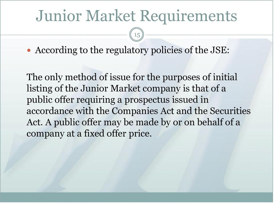 EQUITY FINANCING LISTING ON THE JSE - PDF