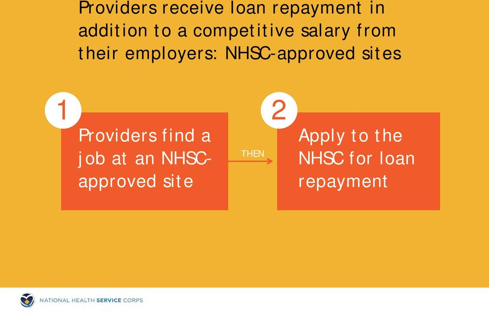employers: NHSC-approved sites 1 Providers find a