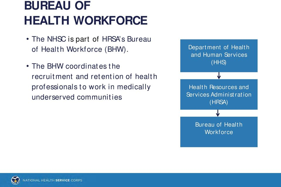 The BHW coordinates the recruitment and retention of health professionals to work