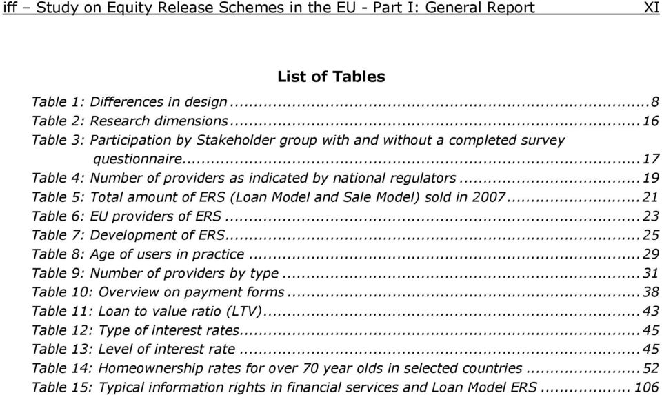 ..19 Table 5: Total amount of ERS (Loan Model and Sale Model) sold in 2007...21 Table 6: EU providers of ERS...23 Table 7: Development of ERS...25 Table 8: Age of users in practice.