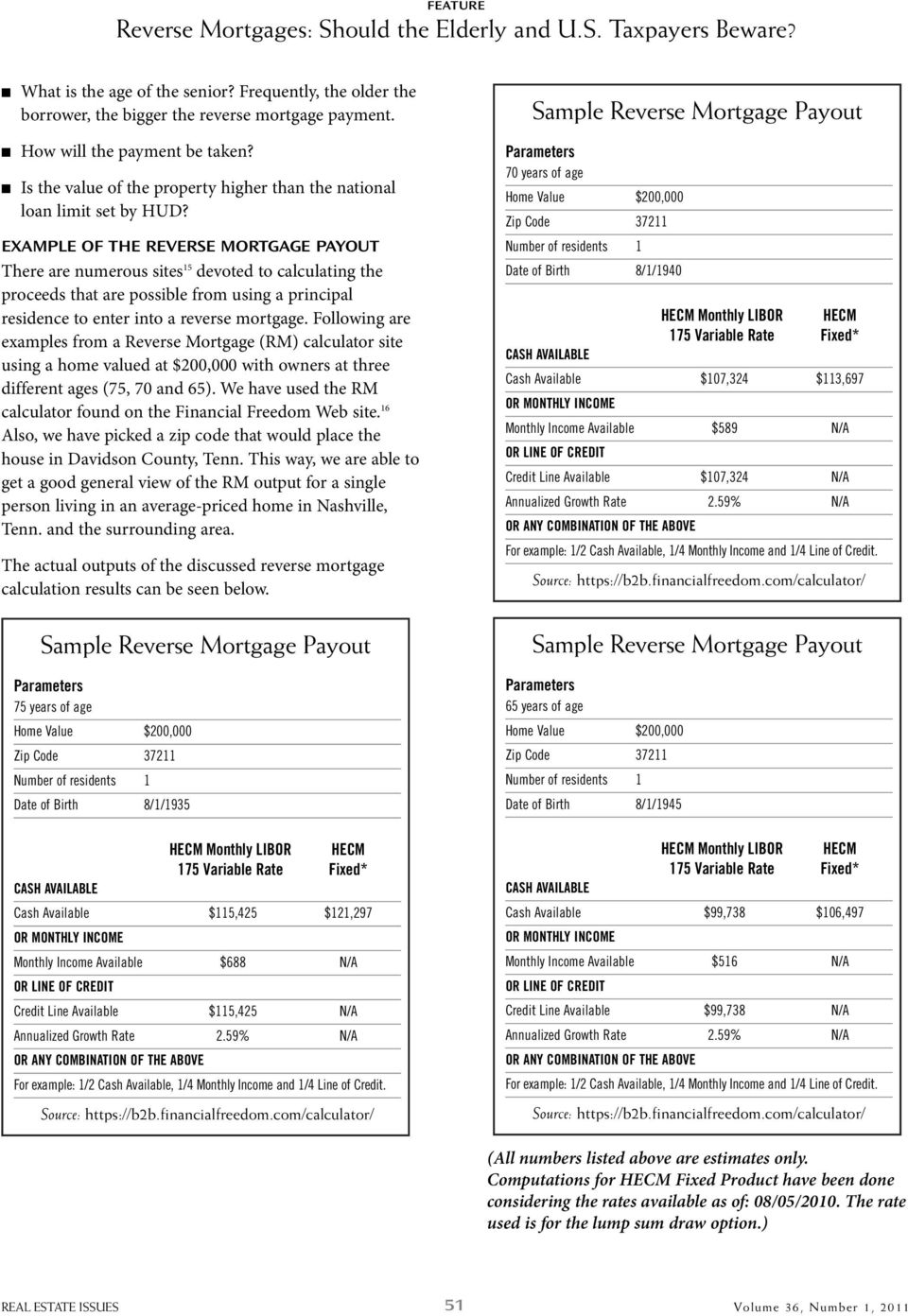 EXAMPLE OF THE REVERSE MORTGAGE PAYOUT There are numerous sites 15 devoted to calculating the proceeds that are possible from using a principal residence to enter into a reverse mortgage.