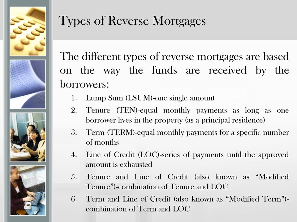 Term (TERM)-equal monthly payments for a specific number of months 4. Line of Credit (LOC)-series of payments until the approved amount is exhausted 5.