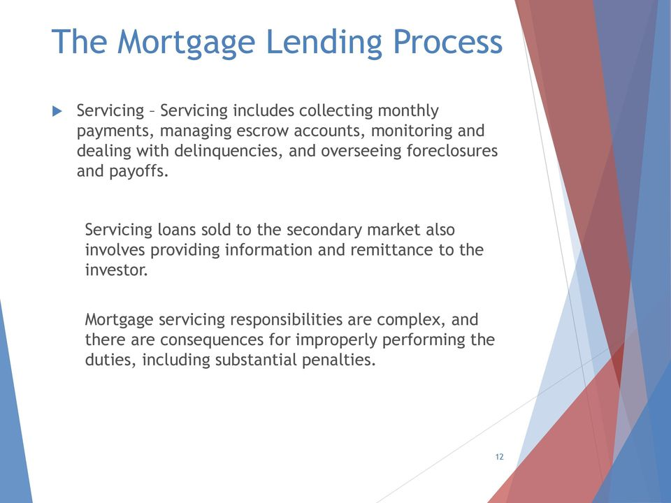 Servicing loans sold to the secondary market also involves providing information and remittance to the investor.