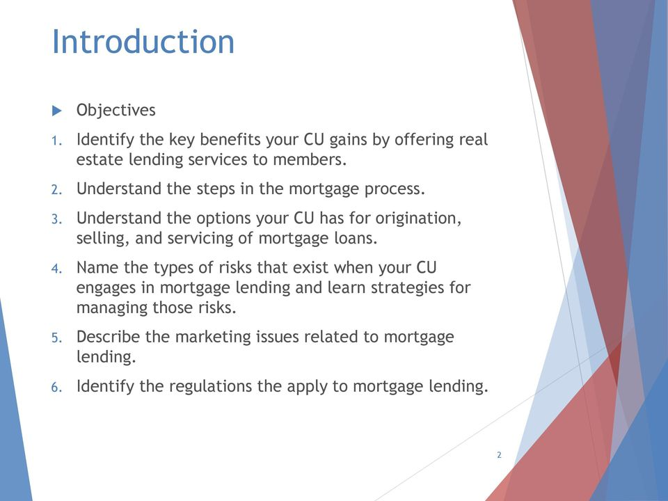 Understand the options your CU has for origination, selling, and servicing of mortgage loans. 4.