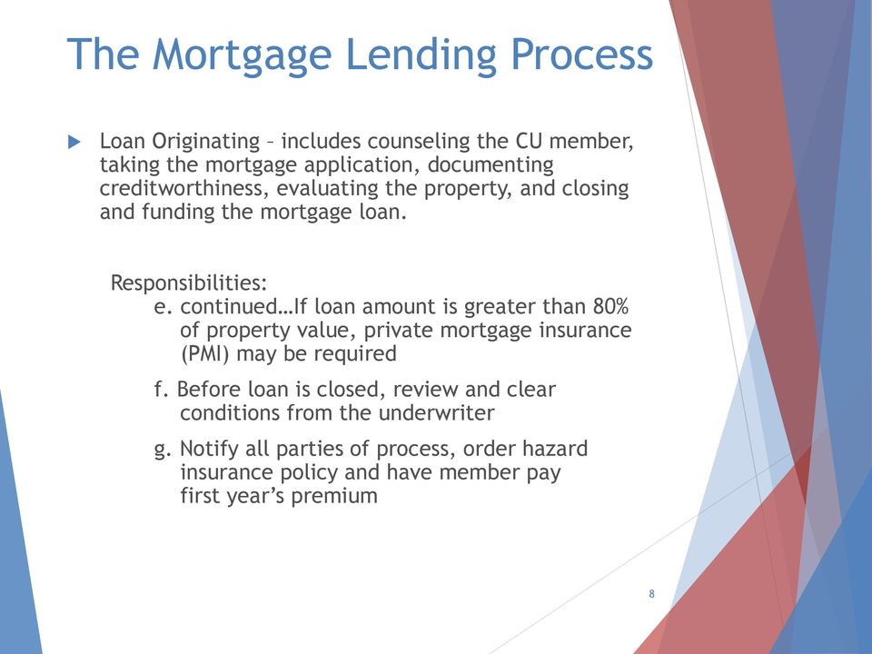 continued If loan amount is greater than 80% of property value, private mortgage insurance (PMI) may be required f.