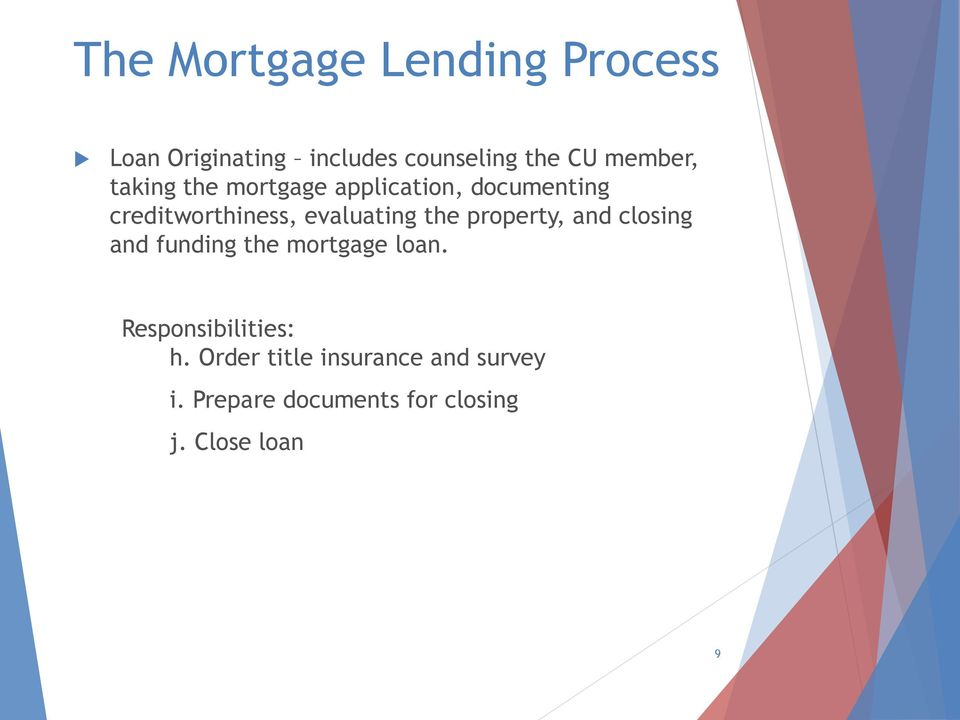 evaluating the property, and closing and funding the mortgage loan.
