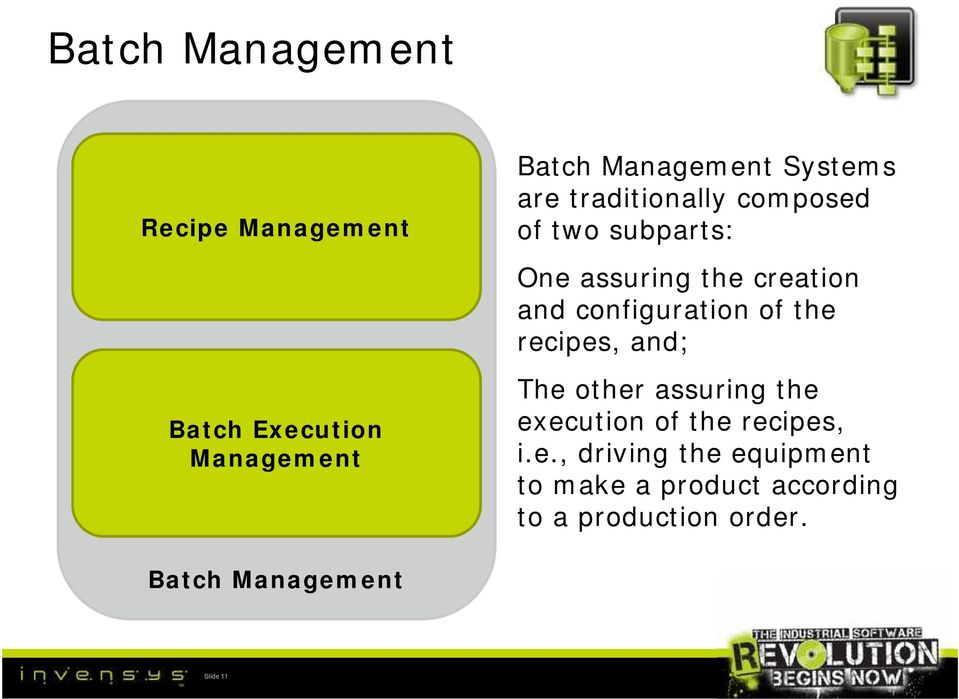 Execution Management Batch Management Slide 11 The other assuring the execution of the