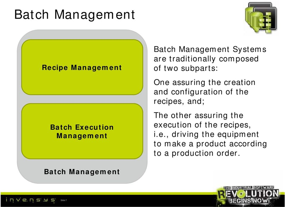 Batch Execution Management Batch Management Slide 7 The other assuring the execution