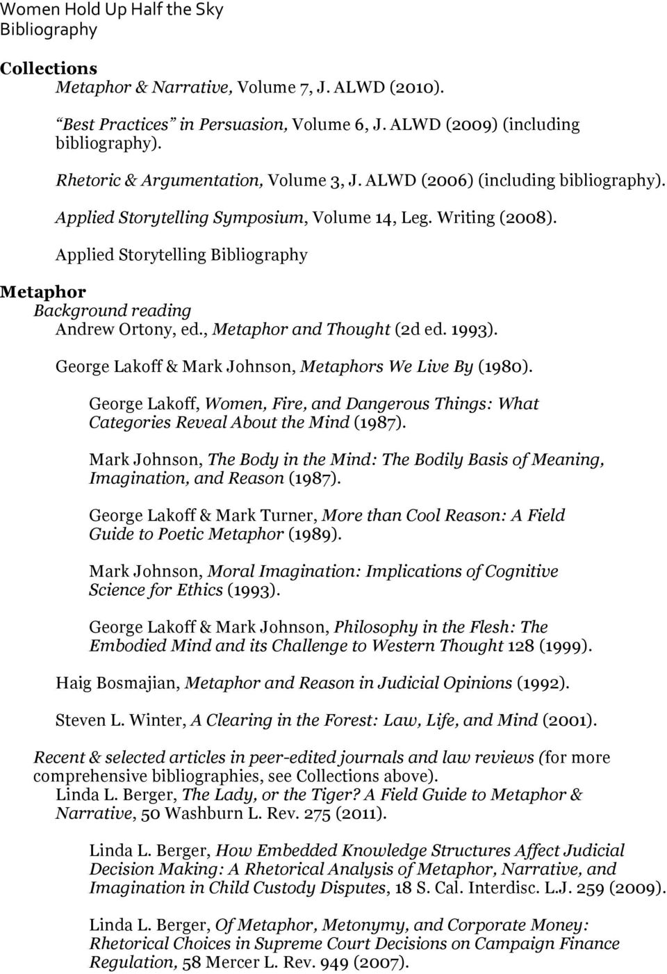 Applied Storytelling Bibliography Metaphor Background reading Andrew Ortony, ed., Metaphor and Thought (2d ed. 1993). George Lakoff & Mark Johnson, Metaphors We Live By (1980).