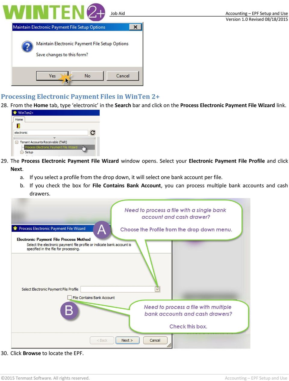 The Process Electronic Payment File Wizard window opens. Select your Electronic Payment File Profile an