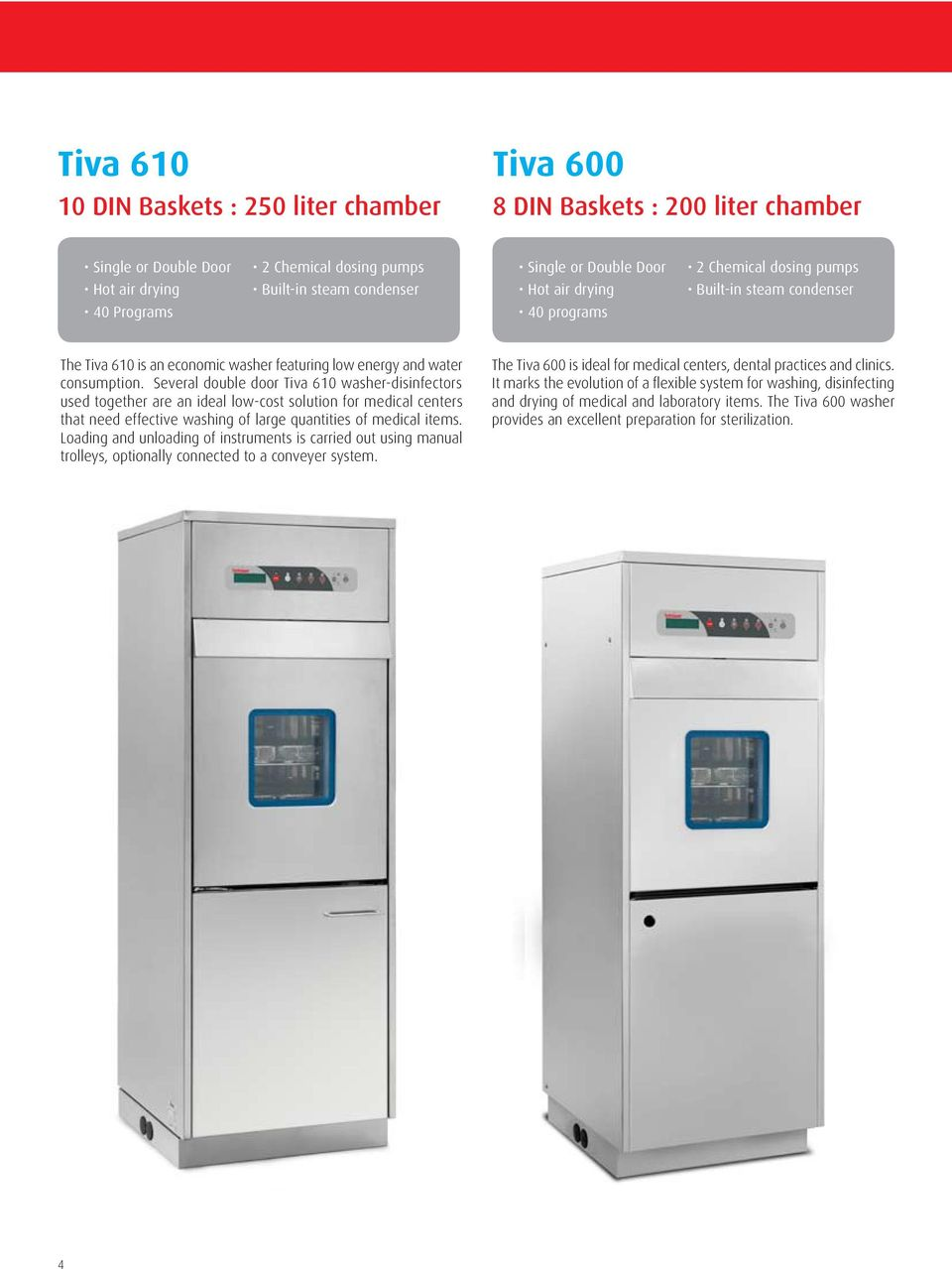 Several double door Tiva 610 washer-disinfectors used together are an ideal low-cost solution for medical centers that need effective washing of large quantities of medical items.