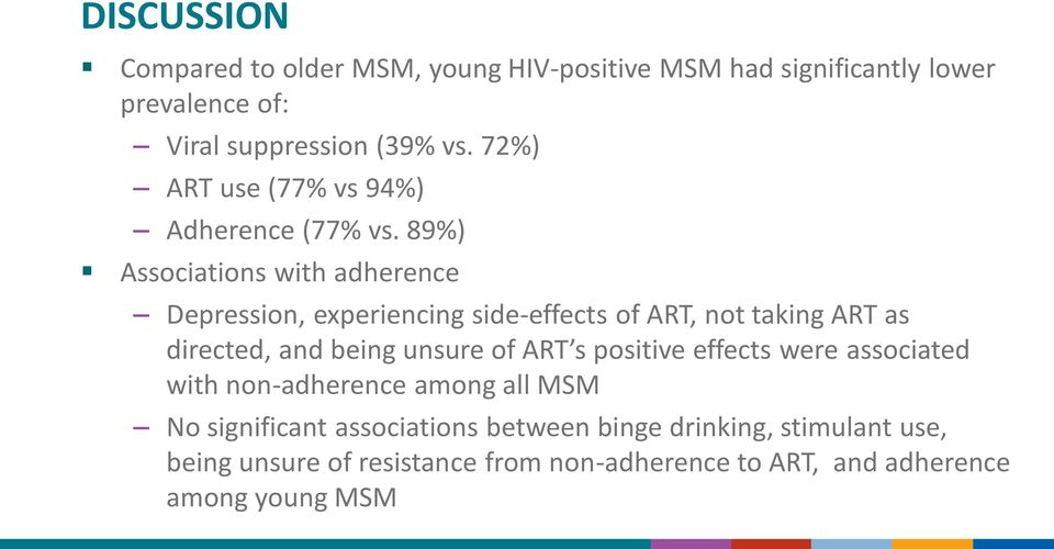 89%) Associations with adherence Depression, experiencing side-effects of ART, not taking ART as directed, and being unsure of