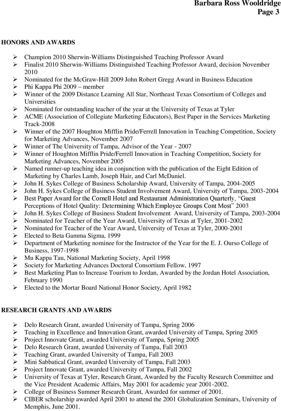 Nominated for outstanding teacher of the year at the University of Texas at Tyler ACME (Association of Collegiate Marketing Educators), Best Paper in the Services Marketing Track-2008 Winner of the