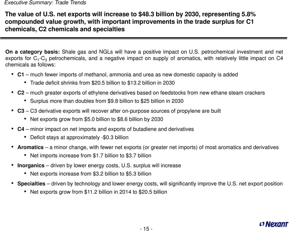 ale gas and NGLs will have a positive impact on U.S.