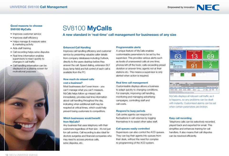 purposes SV8100 MyCalls A new standard in real-time call management for businesses of any size Enhanced Call Handling Improves call handling efficiency and customer service by presenting valuable