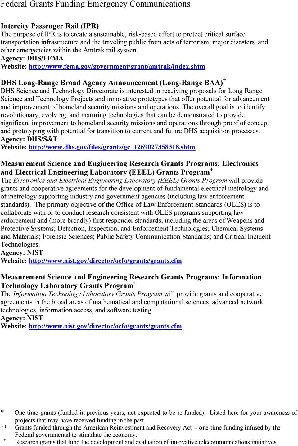 shtm DHS Long-Range Broad Agency Announcement (Long-Range BAA) DHS Science and Technology Directorate is interested in receiving proposals for Long Range Science and Technology Projects and