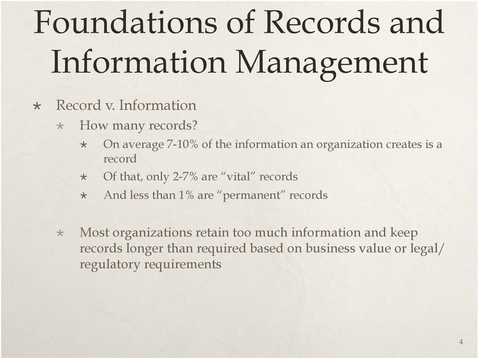 vital records And less than 1% are permanent records Most organizations retain too much