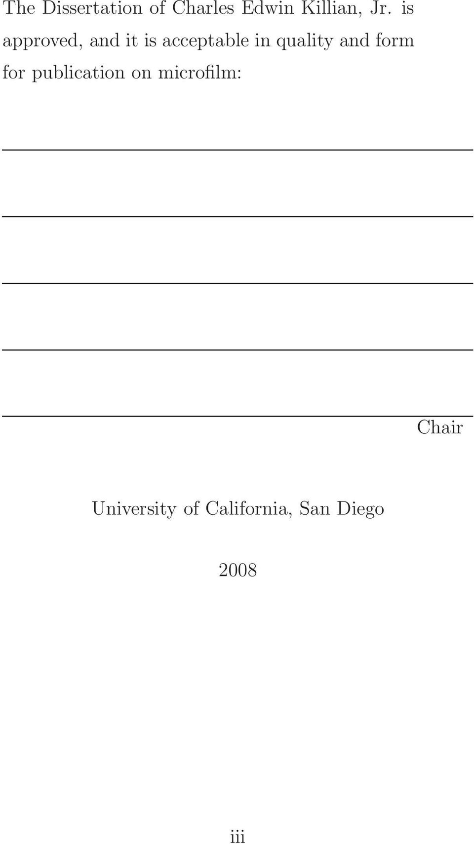 and form for publication on microfilm: Chair