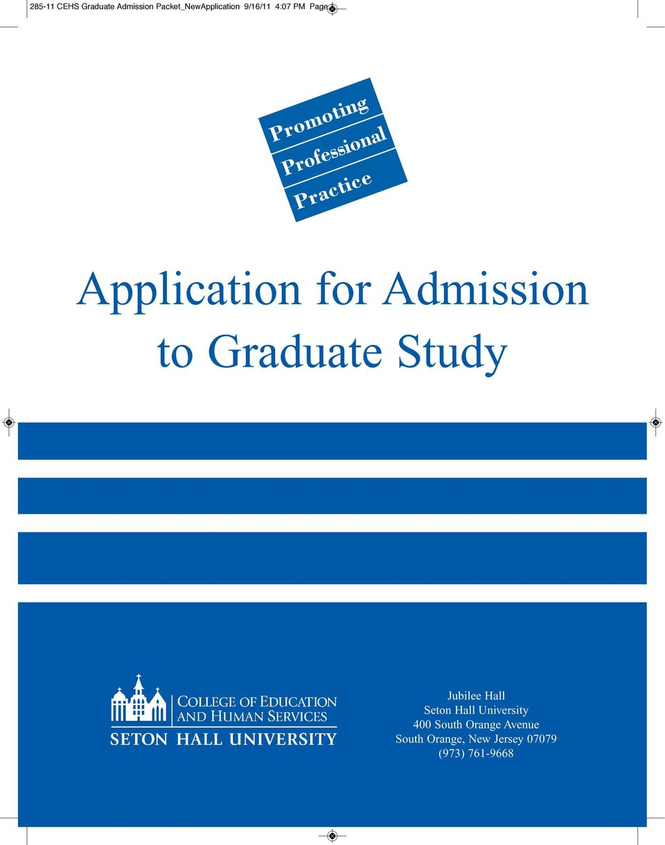 Application for Admission to Graduate Study