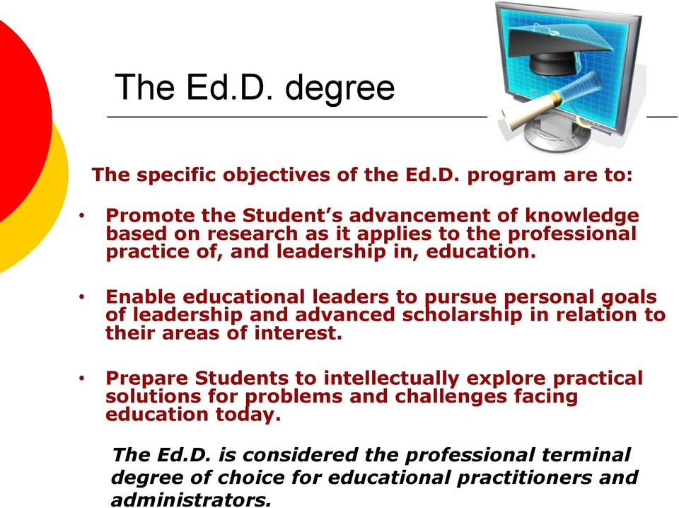 program are to: Promote the Student s advancement of knowledge based on research as it applies to the professional practice of, and leadership